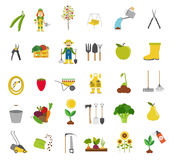 Gardening work, farming icon set. Flat style design Stock Image
