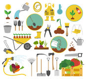 Gardening work, farming icon set. Flat style design Royalty Free Stock Images