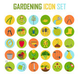 Gardening work, farming icon set. Flat style design Stock Images
