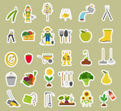 Gardening work, farming icon set. Flat style design Royalty Free Stock Photography