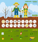 Gardening work, farming infographic. Graphic template. Flat styl Royalty Free Stock Image