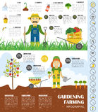 Gardening work, farming infographic. Graphic template. Flat styl Stock Images