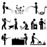 Gardening Work Plant Flower Grass Pictogram Icon S. A set of human figure and gardener working on a garden Royalty Free Stock Photo