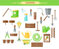 Gardening work tools flat icons set. Equipment for working in garden, gloves, secateurs, seeds, pruners, shovel, watering can. Fla Stock Image