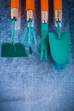 Gardening working objects on scratched metallic background agric Stock Image