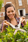 Gardening. Young woman cutting her hedge Royalty Free Stock Photo