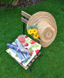 Gardenlife - calm day reading magazines. Warm day in the garden during Summer. Straw hat and some magazines makes my calm day complete stock photo
