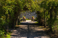 Gardens. Shot of garden walkway with plant pots and flowers royalty free stock images
