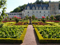Gardens. Of the Chateau de Villandry, France in spring time Royalty Free Stock Photo