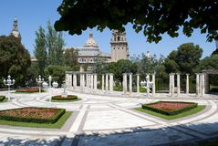 Gardens of the Albéniz palace located on the Montjuic mountain in the city of Barcelona royalty free stock photography