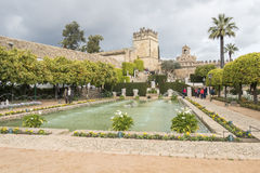 Gardens of Alcazar de los Reyes Cristianos in Cordoba, Spain Stock Photos