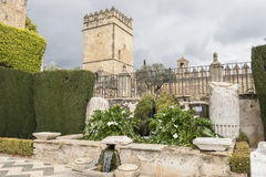 Gardens of Alcazar de los Reyes Cristianos in Cordoba, Spain.  Royalty Free Stock Images