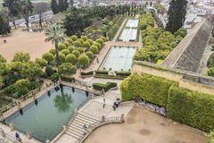 Gardens of Alcazar de los Reyes Cristianos in Cordoba, Spain Royalty Free Stock Photos