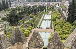 Gardens of Alcazar de los Reyes Cristianos in Cordoba, Spain.  Royalty Free Stock Photos