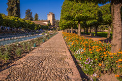 Gardens at the Alcazar de los Reyes Cristianos in Cordoba, Spain Stock Photography