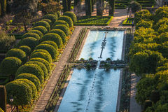 Gardens at the Alcazar de los Reyes Cristianos in Cordoba, Spain Stock Images