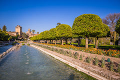 Gardens at the Alcazar de los Reyes Cristianos in Cordoba, Spain.  Royalty Free Stock Images