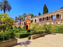 Gardens in Alcazar of Seville, Spain Royalty Free Stock Images