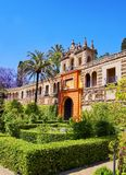 Gardens in Alcazar of Seville, Spain Royalty Free Stock Image