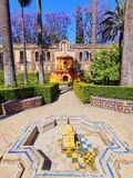 Gardens in Alcazar of Seville, Spain Stock Photo