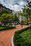 Gardens along a brick path in Boston, Massachusetts. Stock Photo