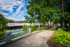 Gardens along the Cocheco River in downtown Dover, New Hampshire Royalty Free Stock Photos