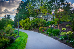 Gardens along a walkway outside the Pittock Mansion, in Portland Stock Photos