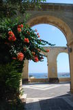 Gardens and Arches. Arches and floral displays in Upper Barracca gardens in Valletta Stock Photo