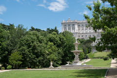 Gardens around the Royal Palace of Madrid, Spain Royalty Free Stock Photo