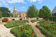 Free Gardens At Colonial Williamsburg In Front Of Bruton Parish Churc Royalty Free Stock Photos - 38073198