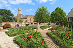 Gardens At Colonial Williamsburg In Front Of Bruton Parish Church Royalty Free Stock Photos