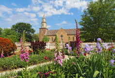 Gardens At Colonial Williamsburg In Front Of Bruton Parish Church Stock Photos