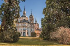 Gardens and main view of the palace of La Granja of San Ildefons. Gardens and the back main facade of the palace of La Granja de San Ildefonso Segovia Spain Royalty Free Stock Images