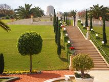Gardens of Bahai in Haifa Israel. Stairs Lawn Trees royalty free stock photography
