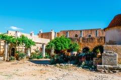 Gardens in the Basilica of Arkadi Monastery on Crete. Island, Greece Stock Image