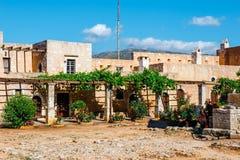 Gardens in the Basilica of Arkadi Monastery on Crete, Greece. Gardens in the Basilica of Arkadi Monastery on Crete Island, Greece Stock Photo