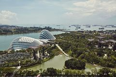 Gardens By The Bay from above in Singapore stock photo
