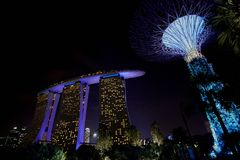 Gardens by the Bay and Marina Bay Sands stock image
