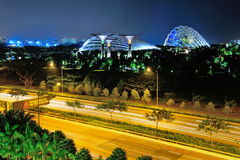 Gardens by the Bay next to the expressway Stock Photo