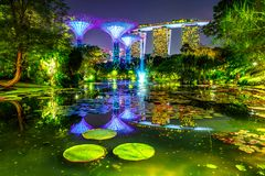 Gardens by the Bay night Stock Photo