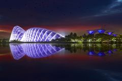 Gardens by the Bay at night, Singapore. Gardens by the Bay and reflection in Singapore river. A panoramic view of landmark with Supertree and Flower Dome in stock photo