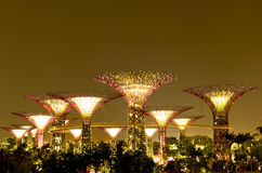 Gardens by the Bay Singapore. Night view of Sky Bridge and Super Trees at Gardens by the Bay Stock Photo