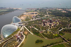 Gardens by the bay, Singapore. Gardens by the bay singapore view from top of Marina bay hotel skypark Royalty Free Stock Images