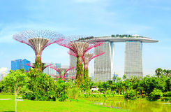 Gardens by the Bay. Singapore, Republic of Singapore - May 09, 2013: Panoramic view of Gardens by the Bay in Singapore. Gardens by the Bay was crowned World Royalty Free Stock Photos