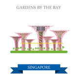Gardens by the Bay Singapore vector attraction travel landmark. Gardens by the Bay in Singapore. Flat cartoon style historic sight showplace attraction web site Royalty Free Stock Photography