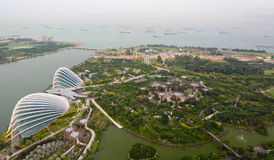 Gardens by the Bay south view from Marina Bay Sands skypark. Singapore Royalty Free Stock Photo