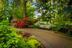 Gardens and bench along a walkway at Pittock Acres Park in Portl Stock Photo