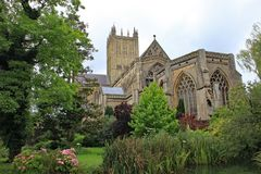 The gardens of the Bishops Palace in Wells, Somerset, England stock image