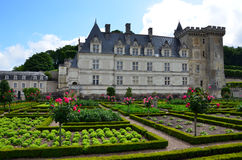 Gardens and Chateau de Villandry. In Loire Valley in France royalty free stock images