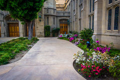 Gardens and church in Pasadena  Royalty Free Stock Photography